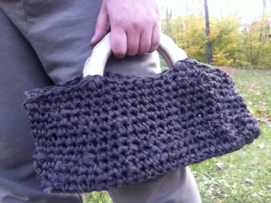 Just finished this great little wooden handled purse- crocheted with 100% recycled cotton fabric yar