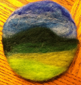 My needle felted sample from class last night- everyone made awesome pieces… Can't wait