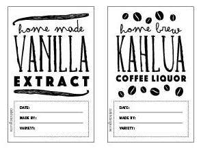 Vanilla Extract, Kahlua Labels